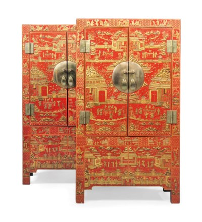A PAIR OF CHINESE RED AND GILT