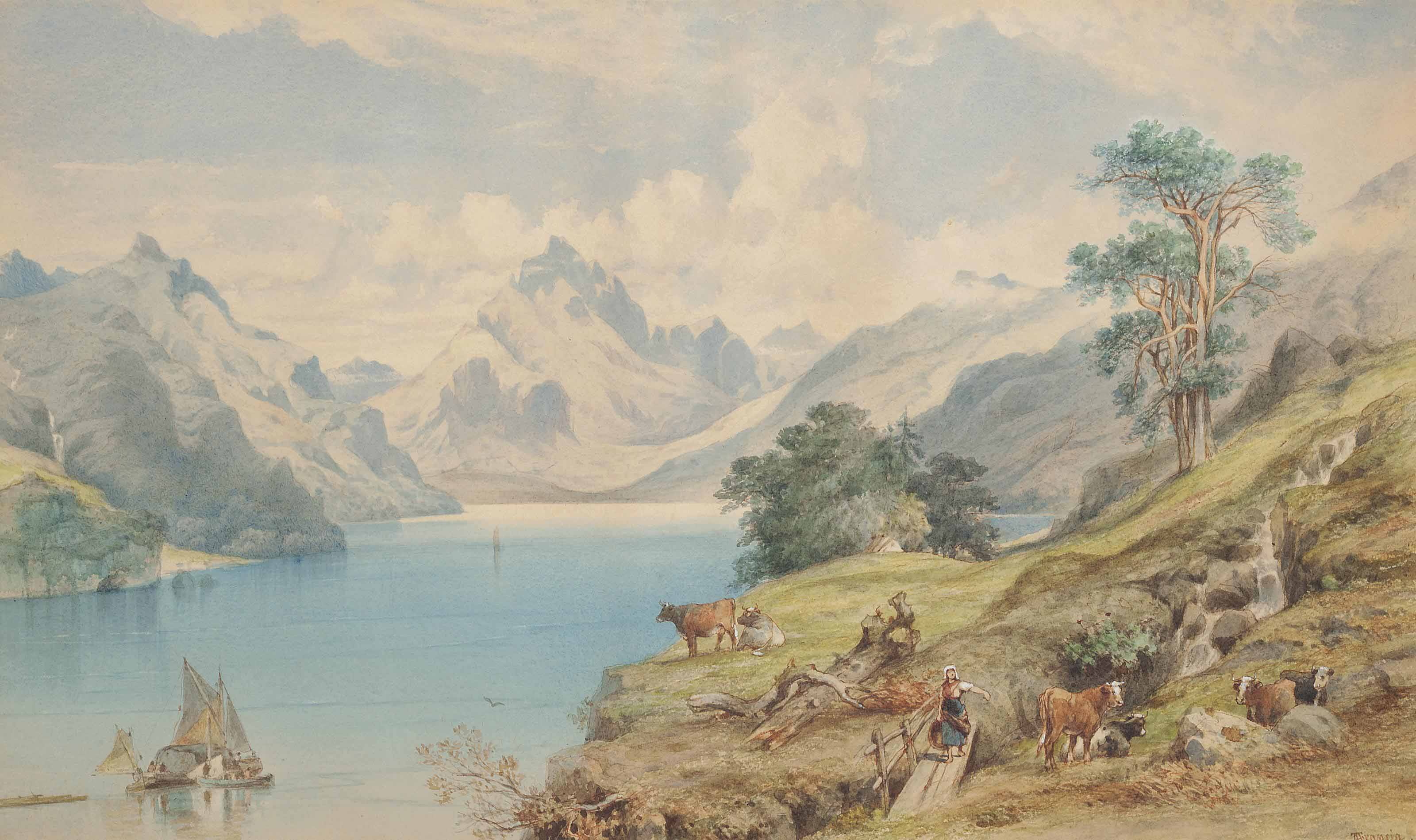 View of Loch Ranza on the Isle of Arran (illustrated); and Figures by a fallen tree trunk above a coastal village