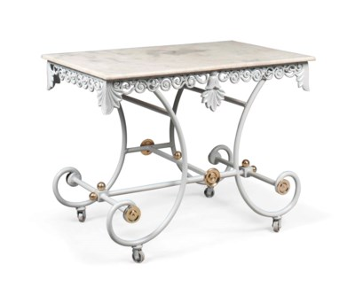A FRENCH GREY-PAINTED WROUGHT-