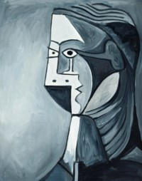 Not Picasso, Woman's head in black & white, 1960