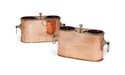 A PAIR OF COPPER AND BRASS SHI