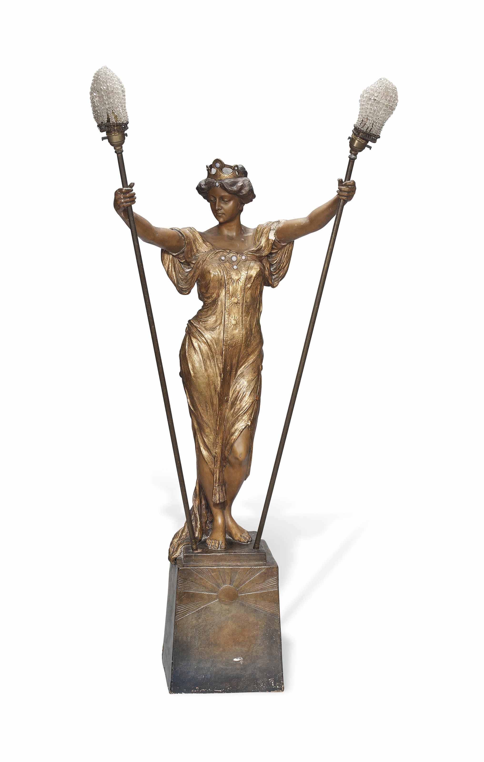 A GOLDSCHEIDER (EST.1885) ART NOUVEAU PAINTED EARTHENWARE FIGURAL FLOOR LAMP