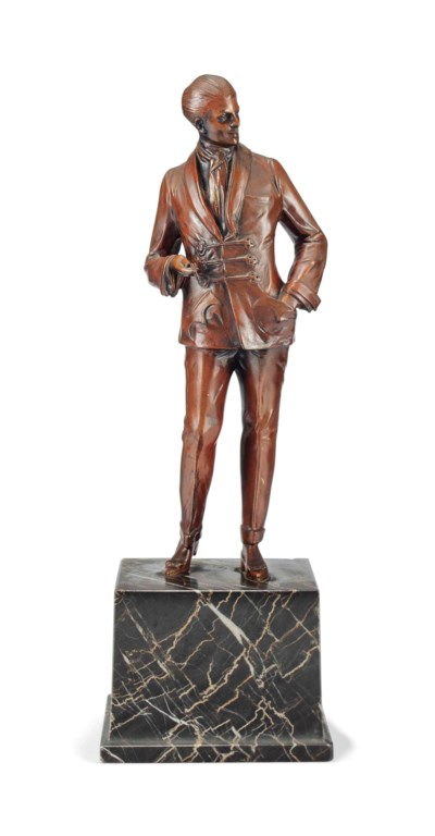 A COLD-PAINTED BRONZE FIGURE A
