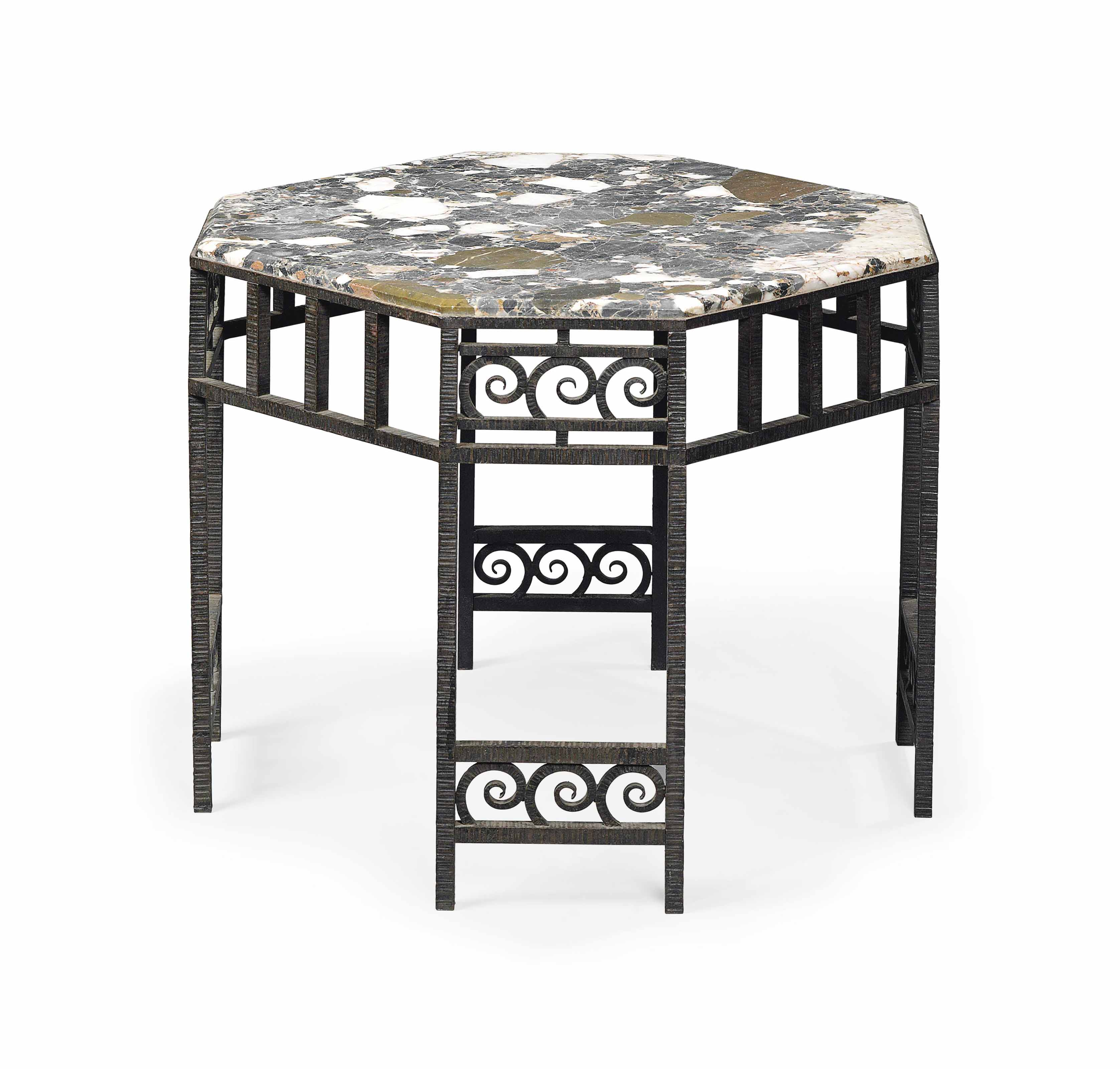 New York Marble Coffee Table: AN ART DECO WROUGHT-IRON AND MARBLE COFFEE TABLE , CIRCA