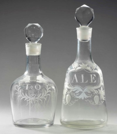 TWO ENGLISH ENGRAVED GLASS DEC