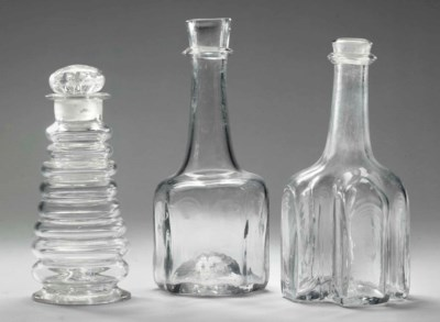 AN ENGLISH GLASS CARAFE, ANOTH