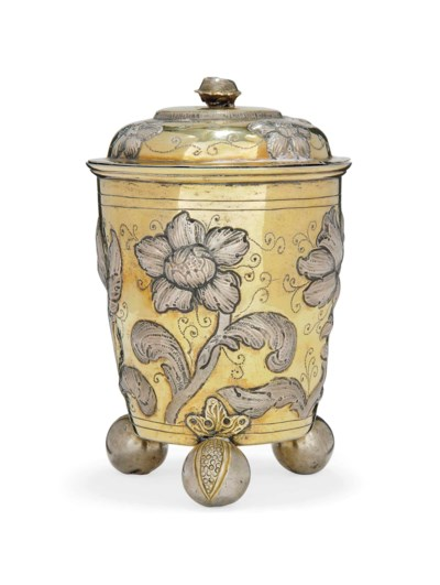 A PARCEL-GILT SILVER COVERED B