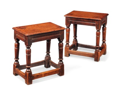A PAIR OF OAK JOINED STOOLS