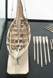 A BONE MODEL OF A GAFF-RIGGED