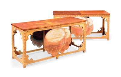 A PAIR OF ITALIAN PAINTED TABL