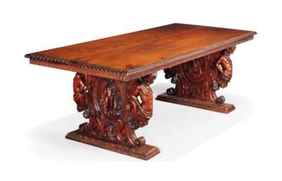 A LARGE ITALIAN WALNUT TABLE