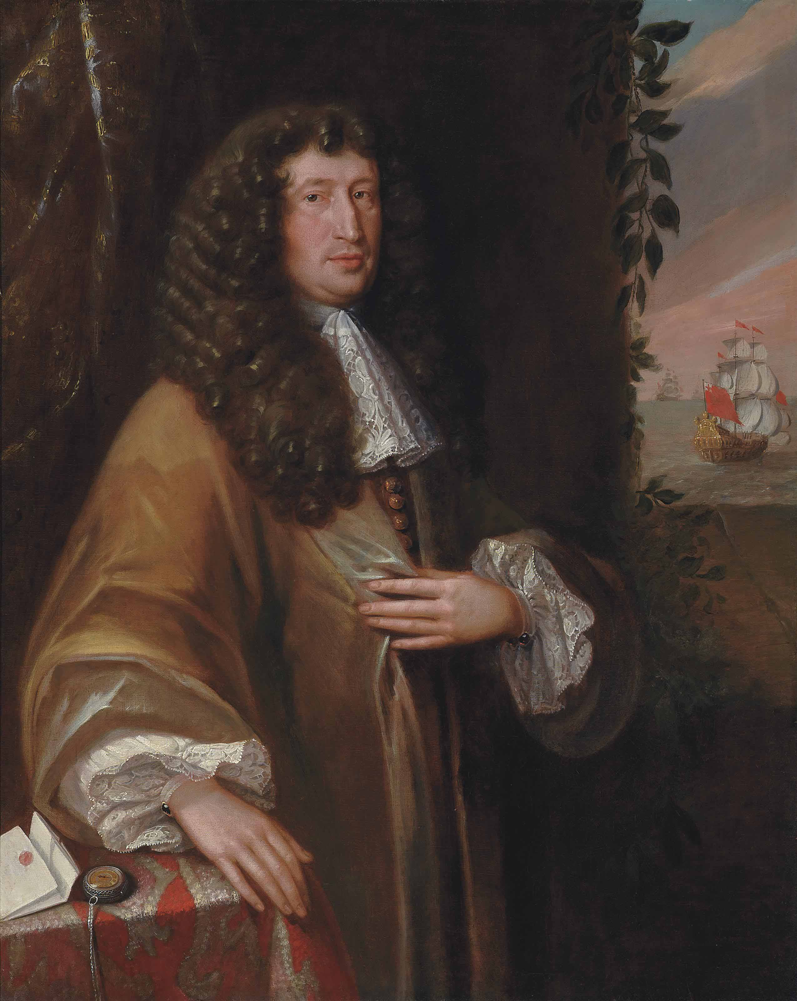 PORTRAIT OF A GENTLEMAN, TRADITIONALLY IDENTIFIED AS JOHN SHUTE BARRINGTON, 1ST VISCOUNT BARRINGTON (1678-1734), THREE-QUARTER-LENGTH, IN A TAN COAT, HIS RIGHT HAND RESTING ON A TABLE, A SHIP FLYING THE RED ENSIGN BEYOND