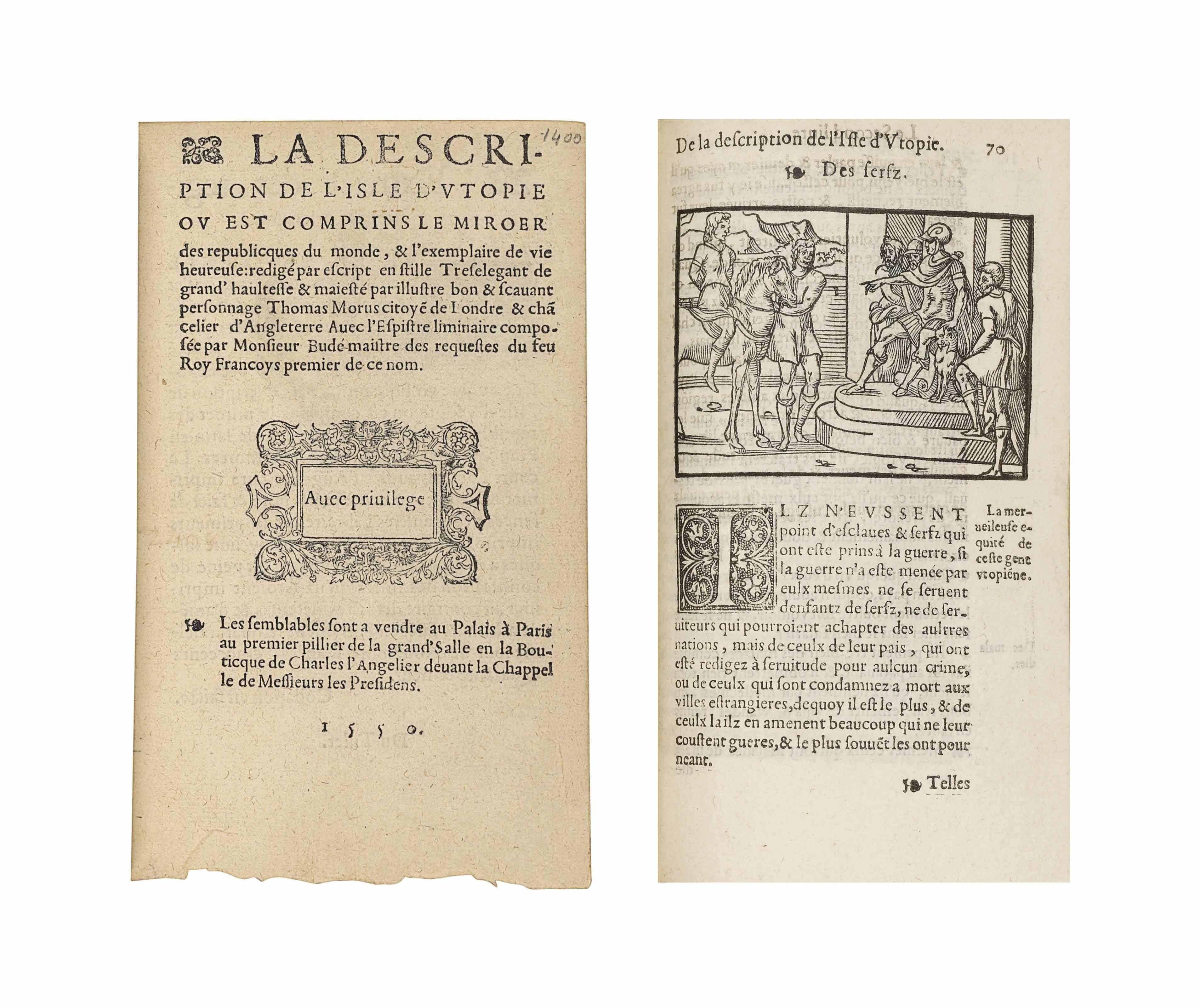 MORE, Thomas (1478-1535). La Description de l'Isle d'Utopie. Paris: Charles l'Angelier, 1550. 8° (164 x 100mm). Woodcut devices on title and final leaf, 12 woodcuts, woodcut initials. Red morocco gilt by Thibaron-Joly, gilt lozenge on sides made up of small tools, spine compartments directly lettered and with repeated fleuron, gilt turn-ins and edges. Provenance: purchased from Ch. Bosse, 1924.