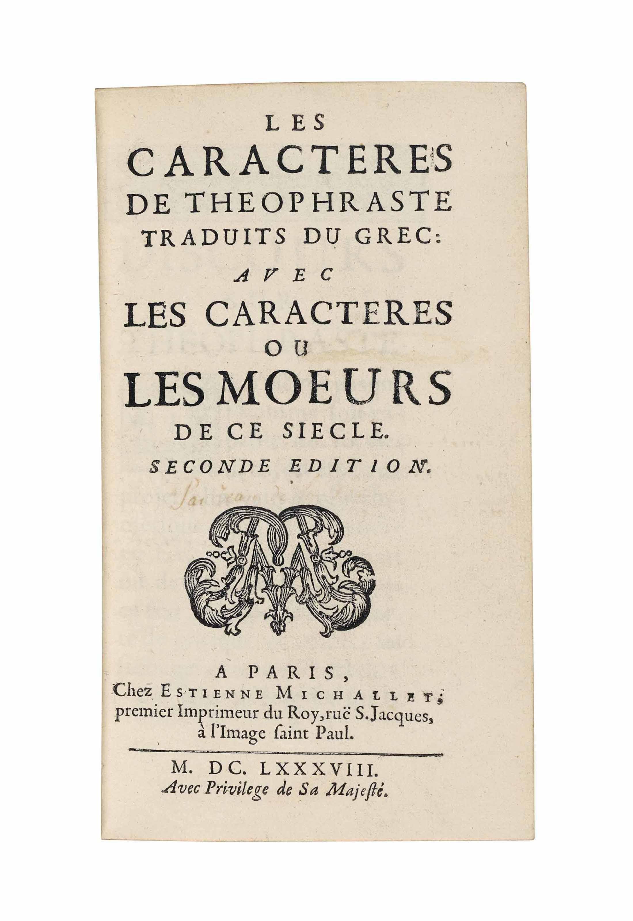 LA BRUYÈRE, Jean de (1645-1696