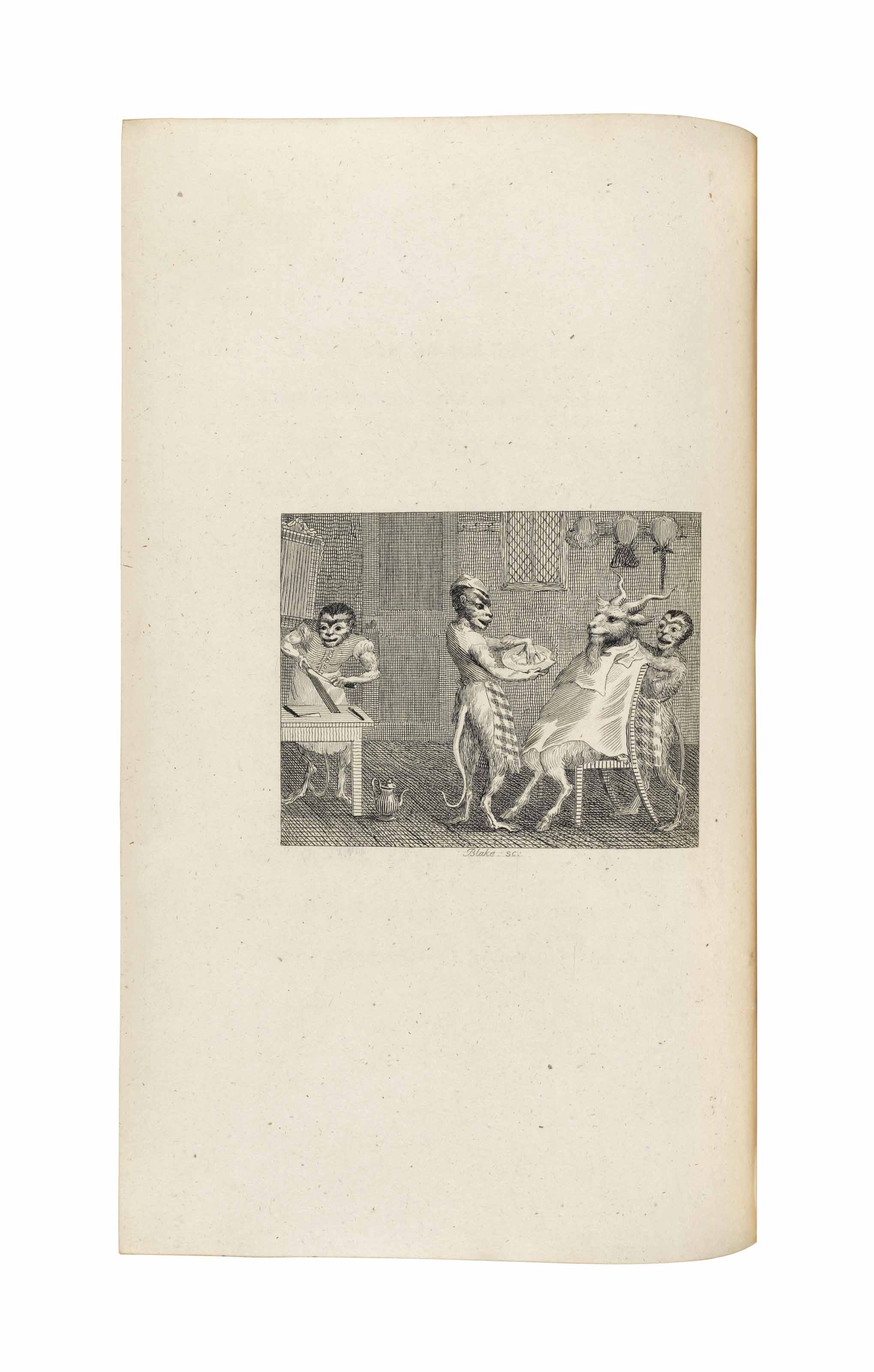 GAY, John (1685-1732). Fables. London: for John Stockdale, 1793. 2 volumes, 8° (261 x 160mm). Engraved frontispiece and 67 engraved plates by Blake, Grainger, Mazell and others. With the list of subscribers bound at the end. Green morocco by Lloyd, Wallis & Lloyd, spines in compartments with red morocco onlays on the bands, gilt supralibros, gilt spine lettering, turn-ins and edges (spine lightly and evenly faded, extremities lightly rubbed). Provenance: J.F. Hinckley (bookplate) -- purchased from Ch. Bosse, 1923.