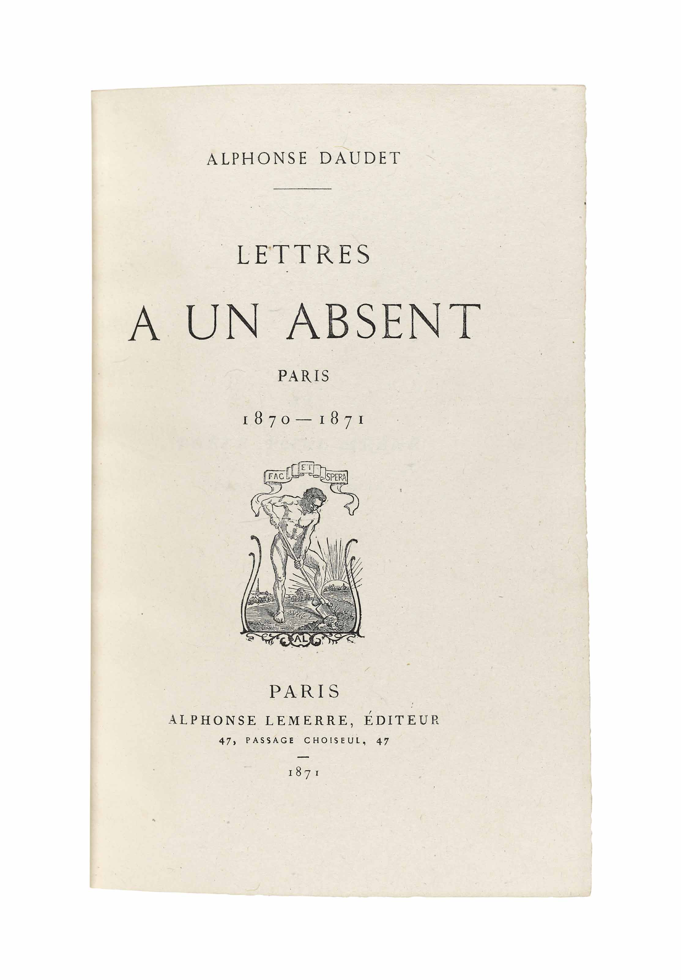 DAUDET, Alphonse (1840-1897). Lettres à un absent. Paris 1870-71. Paris: Lemerre, 1871. 8° (180 x 117mm). Half-title, title with vignette, foliated opening initial to each chapter, head- and tail-pieces in similar style. (Small red and blue ink stains in a few bottom margins.) Dark brown morocco by Marius-Michel, later gilt supralibros, green morocco doublures, free endpapers of patterned silk, original plain glassine wrappers bound in. Provenance: purchased from Carteret, 1925.