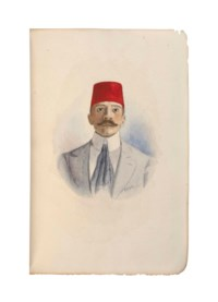 LOTI, Pierre (1850-1923). Au Maroc. Paris: Calmann-Lévy, 1890. 18° (188 x 126mm). Extra illustrated with original watercolour portrait of Pierre Loti loosely inserted as frontispiece, one original full-page illustration, one head-piece and 28 tail-pieces in watercolour, all by E. Rigola, signed and dated 1926. (Marginal worming affecting corners of pp.1-2, 7-8, 11-12.) Brown half morocco, 1926, original wrappers preserved. Provenance: purchased from Bone, 1924.