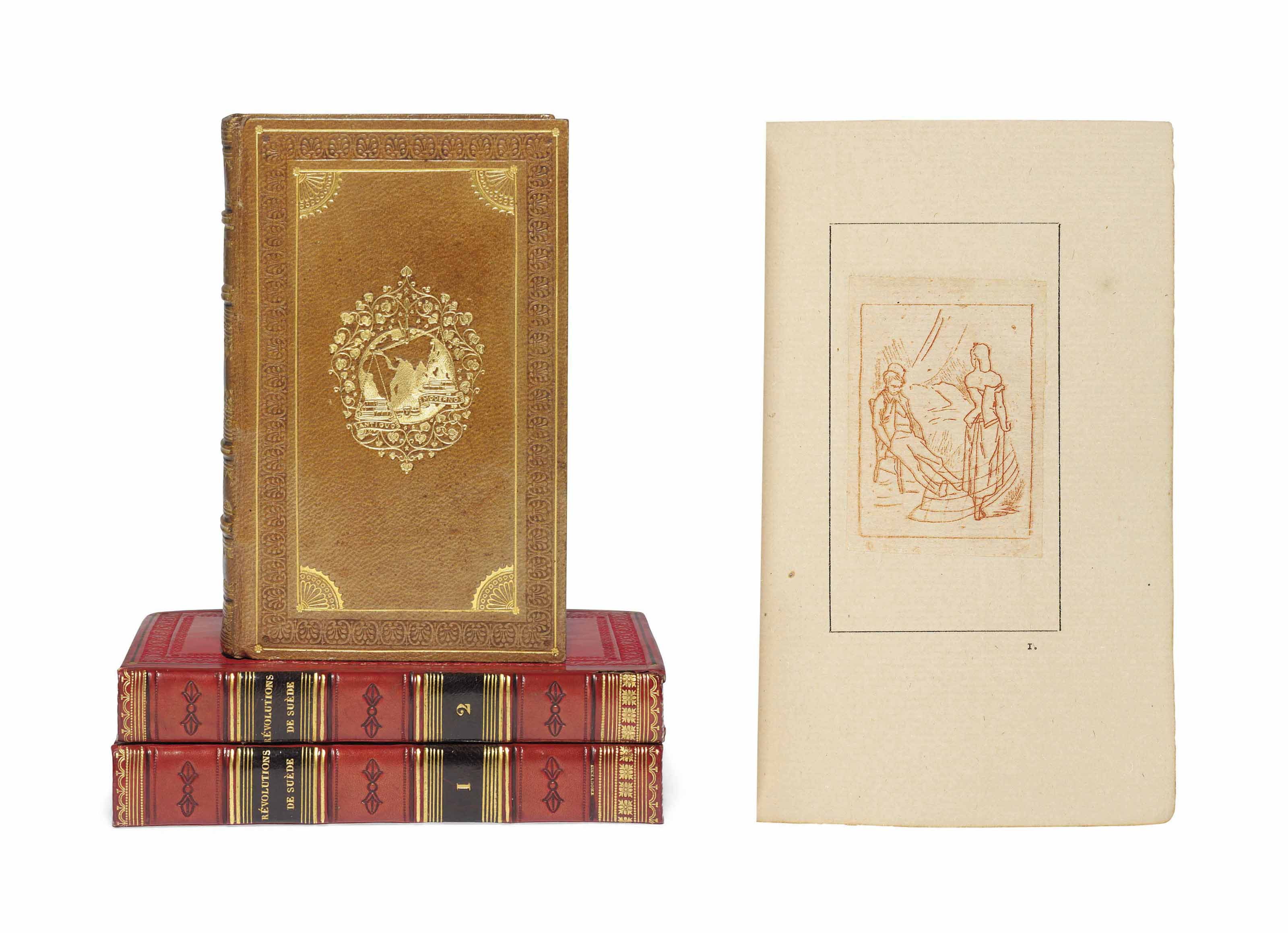 MONNIER, Henry (1799-1877). Les bas-fonds de la société. [?Paris: 1883]. 18° (124 x 76mm). 8 plates drawn by Félicien Rops. Later brown half morocco by Champs, gilt spine compartments with floral motif, original wrappers bound in. Provenance: purchased from Meynial, 1925. ONE OF 64 COPIES.