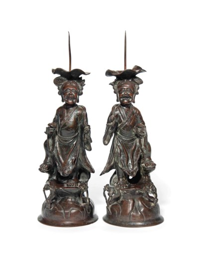 A PAIR OF CHINESE BRONZE CANDL