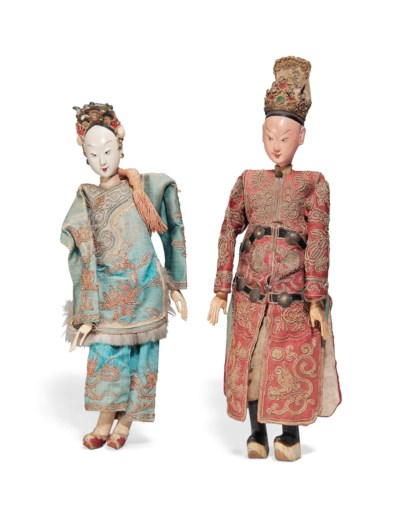 A PAIR OF CHINESE COSTUME DOLL