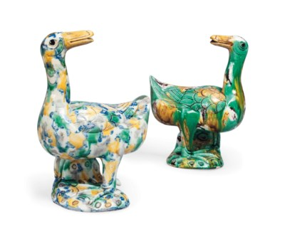 TWO CHINESE GLAZED MODELS OF S