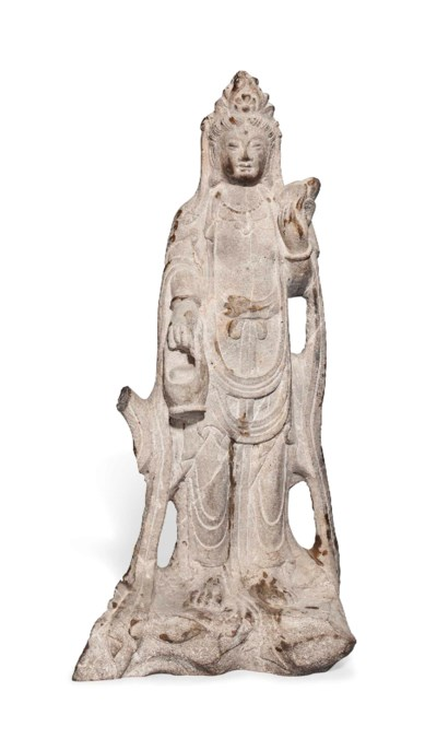 A CHINESE CARVED MARBLE GUANYI