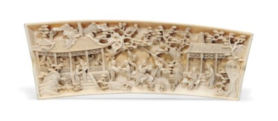 A CHINESE CARVED IVORY PANEL