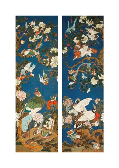 TWO CHINESE WALLPAPER PANELS