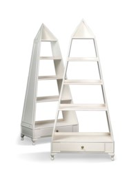 A PAIR OF WHITE-PAINTED BOOKSHELVES