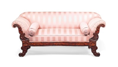 A GERMAN MAHOGANY SOFA