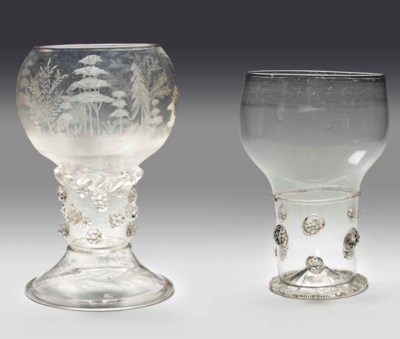 TWO CLEAR-GLASS ROEMERS