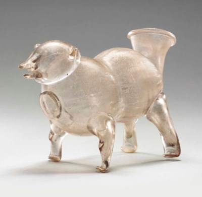 A GLASS ZOOMORPHIC FLASK