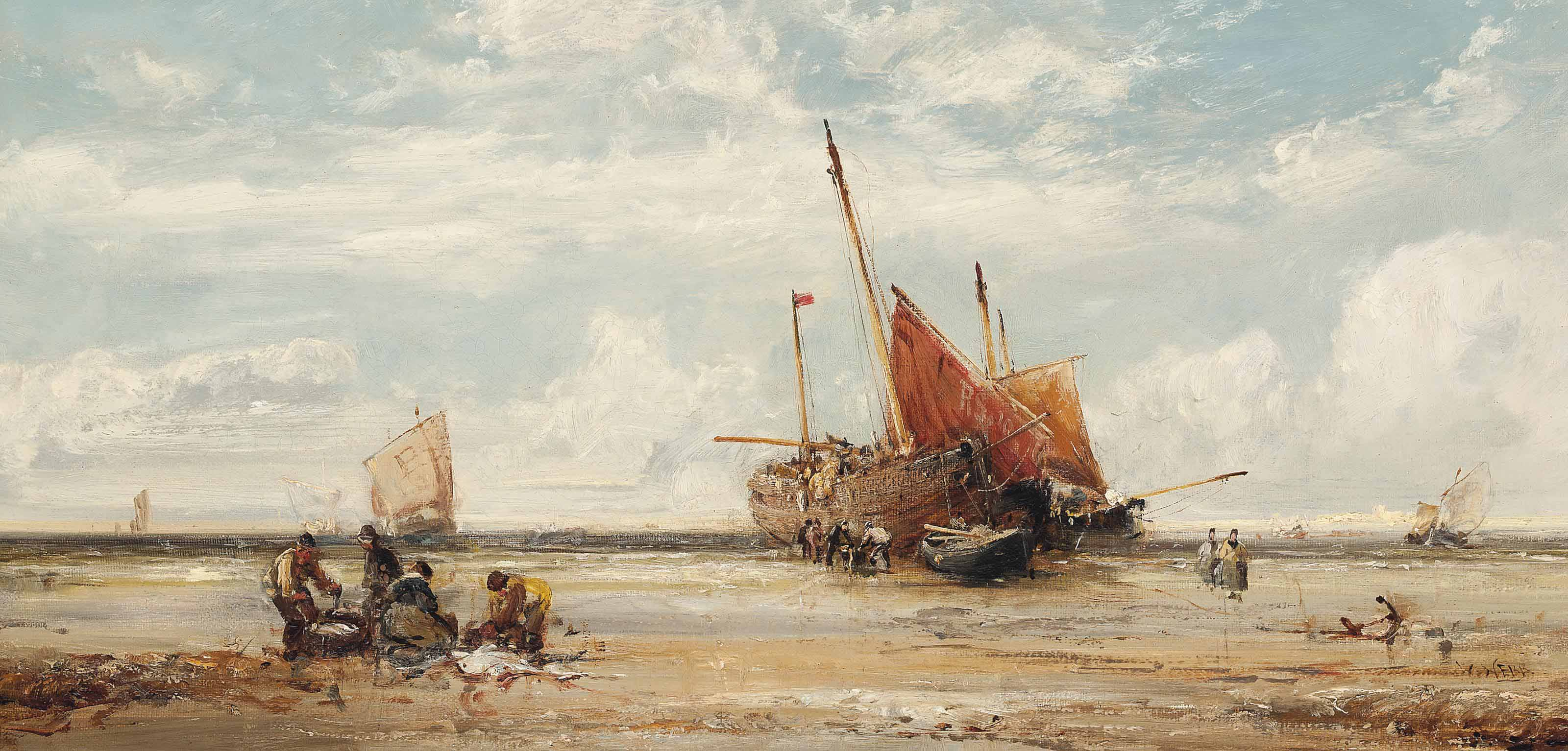 Unloading the catch, low tide