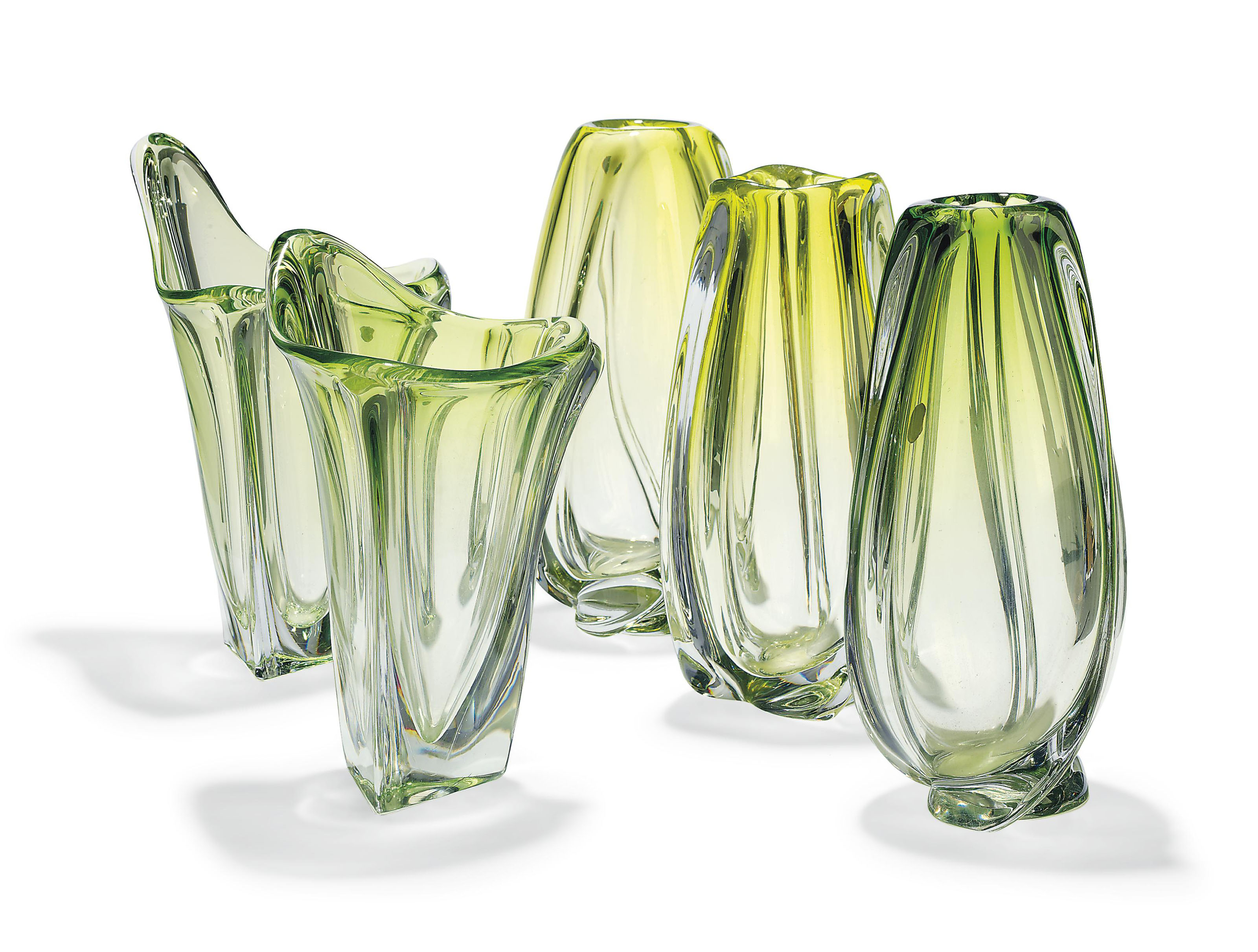 A GROUP OF FIVE VAL ST.LAMBERT GLASS VASES