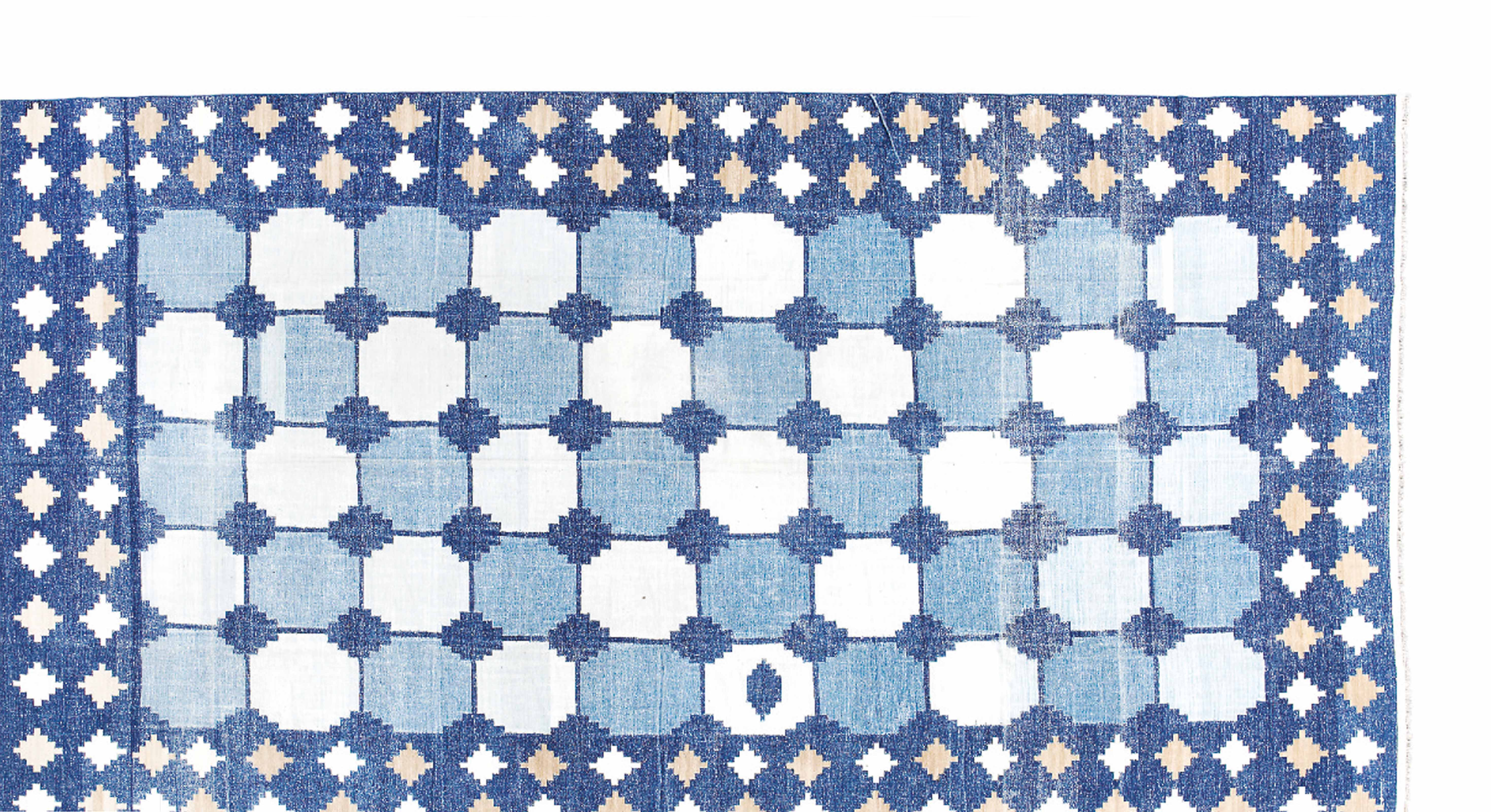 AN INDIAN INDIGO AND WHITE \'TILE-PATTERN\' DHURRIE | LATE 19TH/EARLY ...