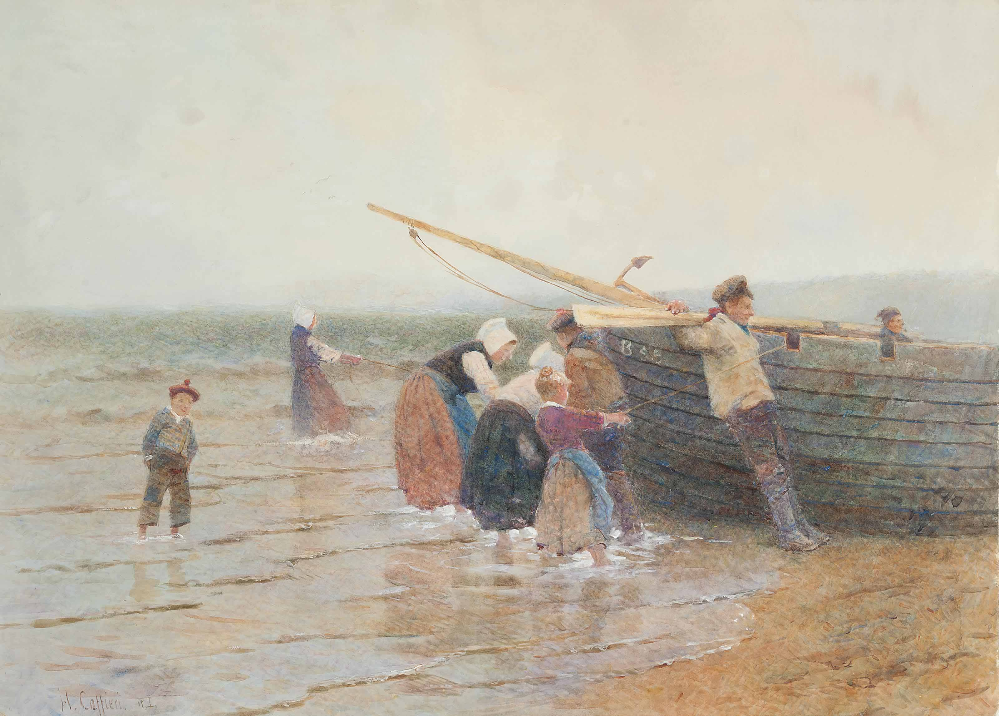 Launching the fishing boat, Brittany