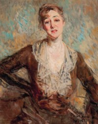 Portrait of The Honourable Mrs Charles Russell, née Adah Williams (1868-1959), half-length, in a brown dress