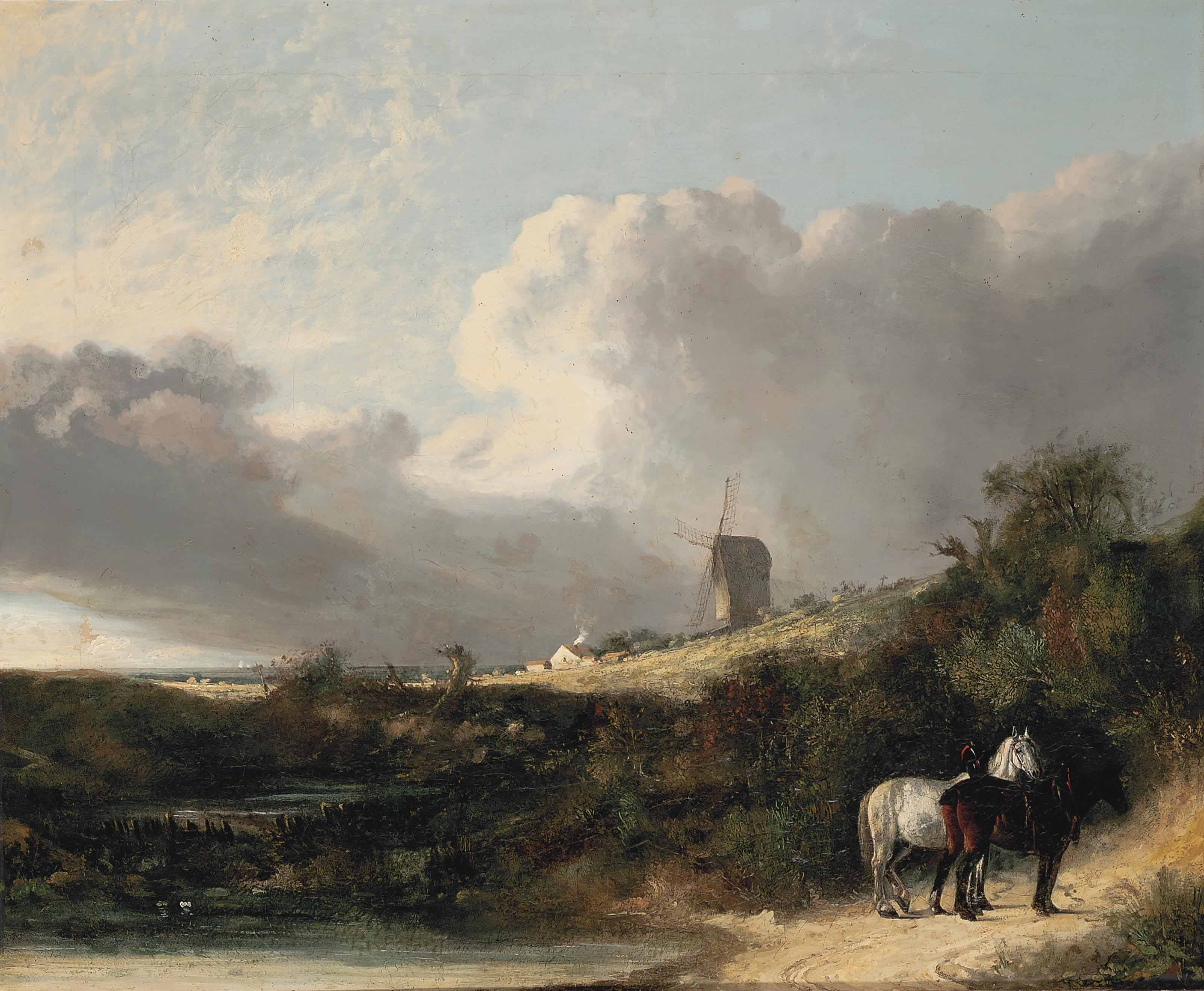 A view near Woodbridge, with two horses by a pond, a windmill beyond