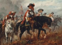 The King's cavalry moving into position for a charge at Naseby