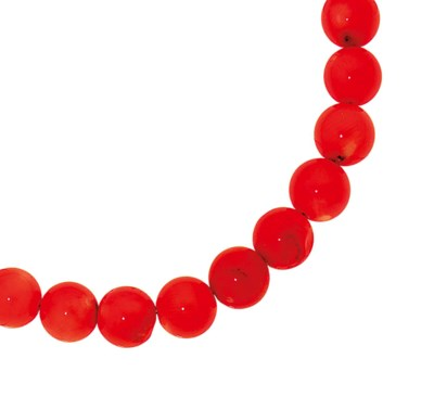 A coral bead necklace