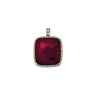 A garnet and diamond pendant