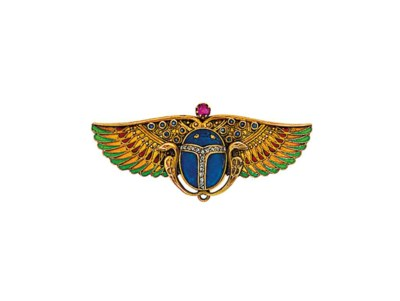 An Egyptian Revival enamel and
