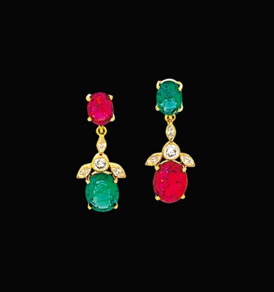 A pair of emerald, spinel and