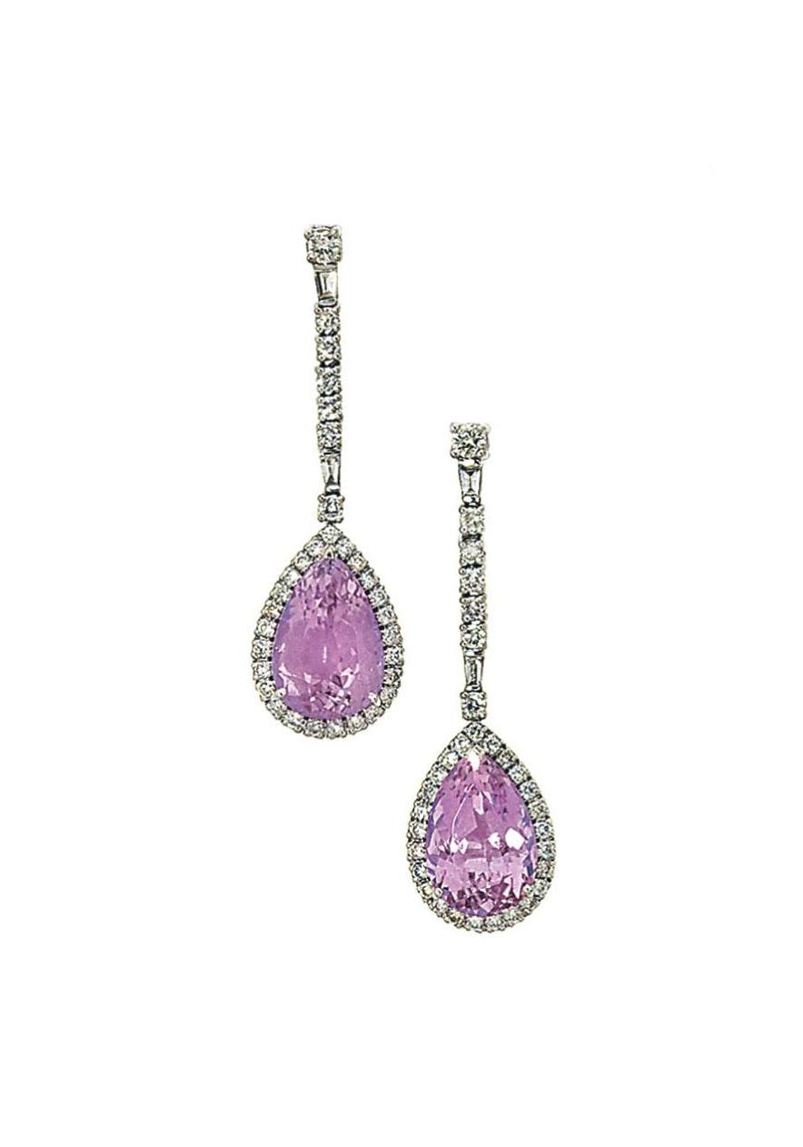 A pair of kunzite and diamond