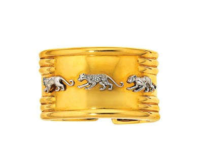 A diamond-set bangle