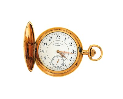 A gold pocket watch by Lange &