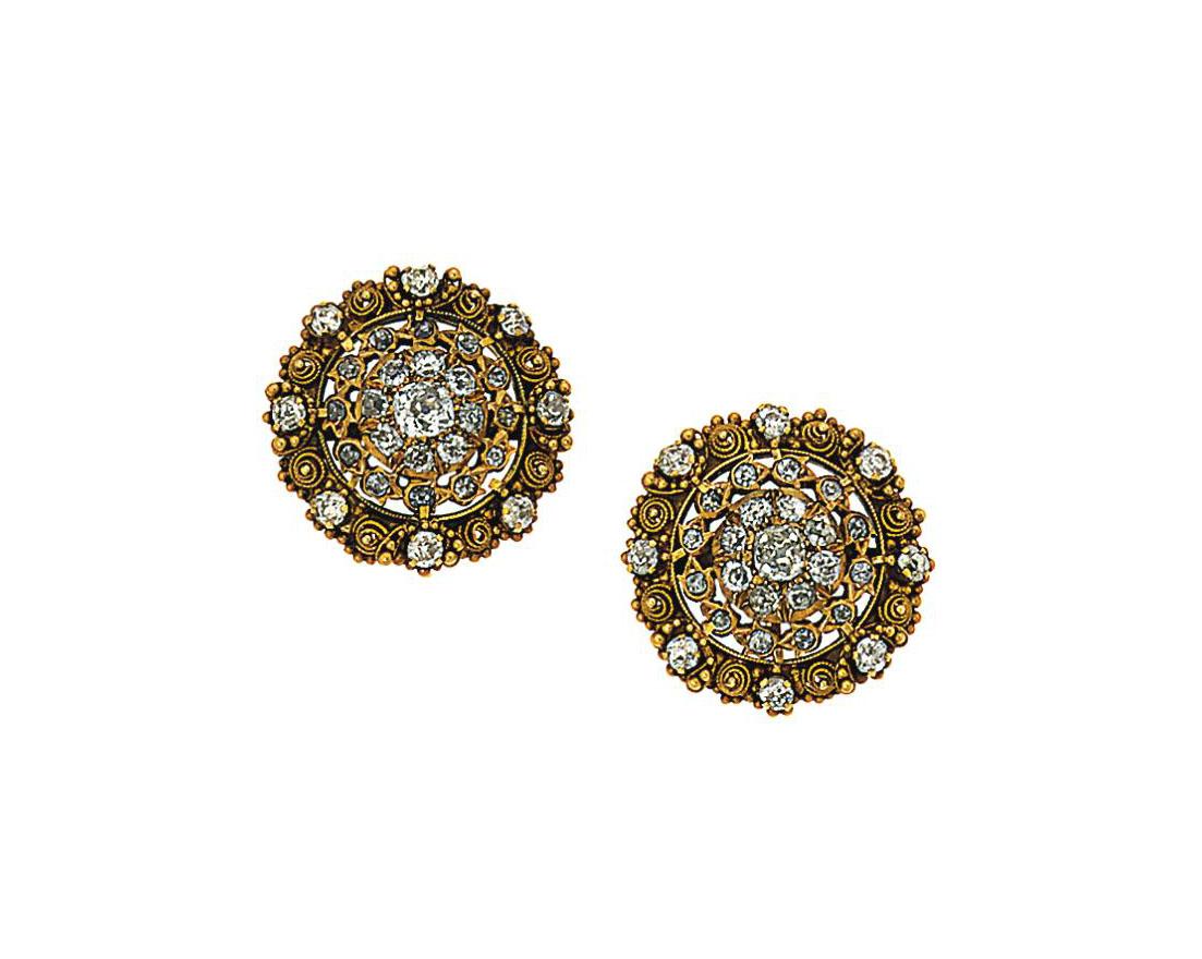 A pair of diamond-set earrings