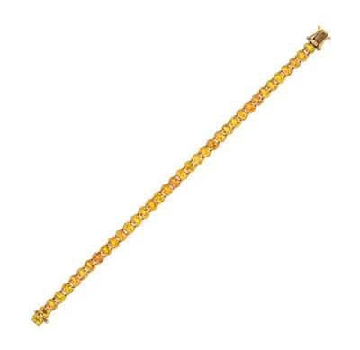 A yellow sapphire line bracele