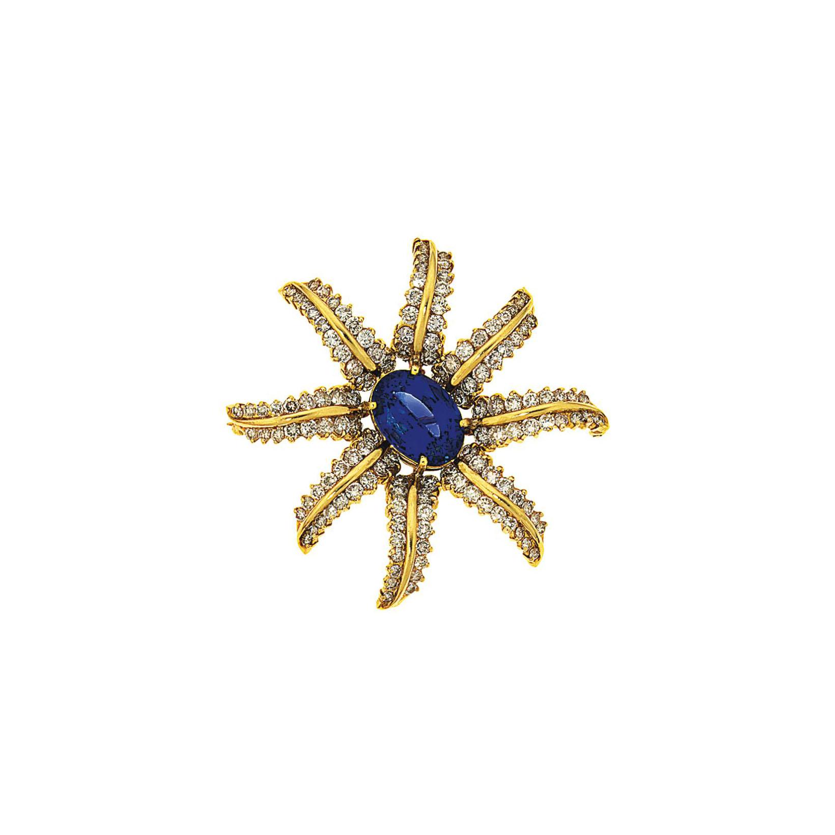 A tanzanite and diamond flower