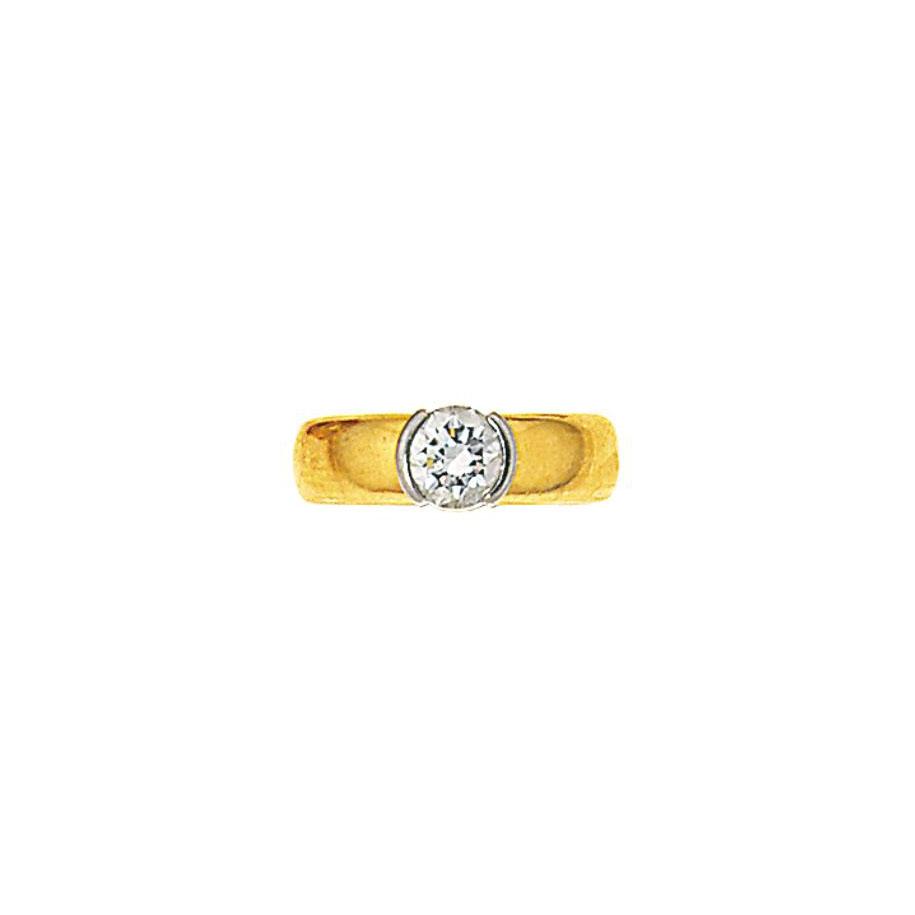 A diamond single stone ring, b